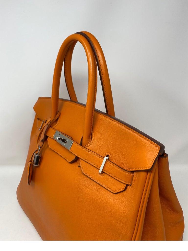 Hermes Orange Swift Birkin 35 Bag For Sale 3