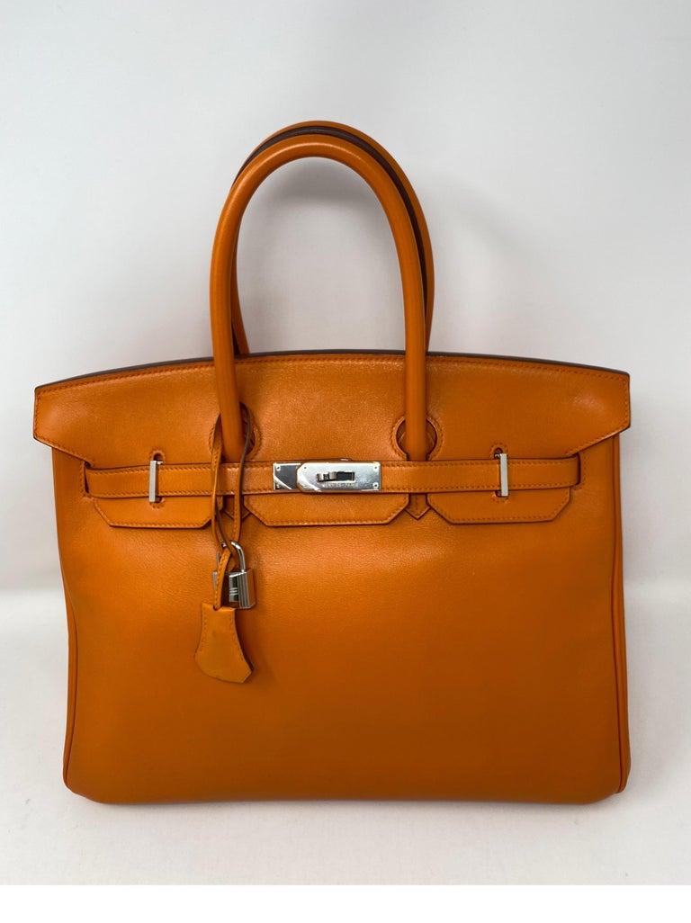 Hermes Orange Swift Birkin 35 Bag For Sale 4