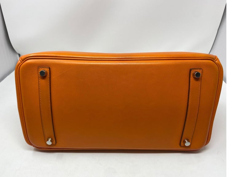 Hermes Orange Swift Birkin 35 Bag For Sale 5