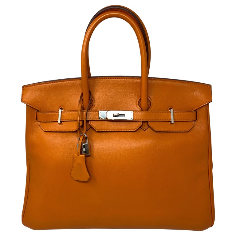 Hermes Orange Swift Birkin 35 Bag For Sale