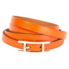 HERMES orange swift leather 'Hapi 4' Bracelet