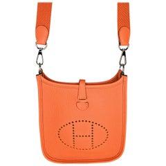 Hermès Orange Taurillon Clemence Evelyne TPM Crossbody