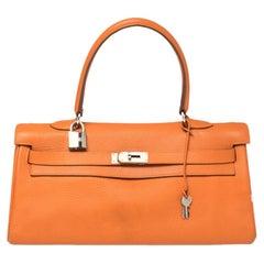 Hermes Orange Taurillon Clemence Leather Palladium Hardware Kelly 42 Bag