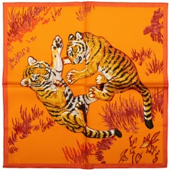 Hermes Orange Tiger Cubs Silk Gavroche Scarf