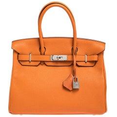 Hermes Orange Togo Leather Palladium Hardware Birkin 30 Bag