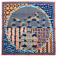 Hermes Orange/Turquoise/Blue Ex-Libris En Cravates by Louis Boquin Silk Scarf