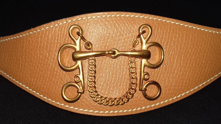 Hermès Ornament for Hermès Skirt or Belt Mors et Filet Ghw Gold Leather RARE For Sale 1