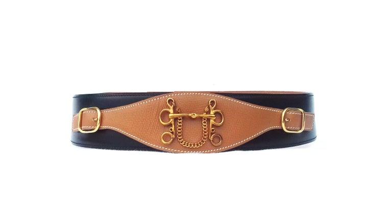 Hermès Ornament for Hermès Skirt or Belt Mors et Filet Ghw Gold Leather RARE For Sale 3