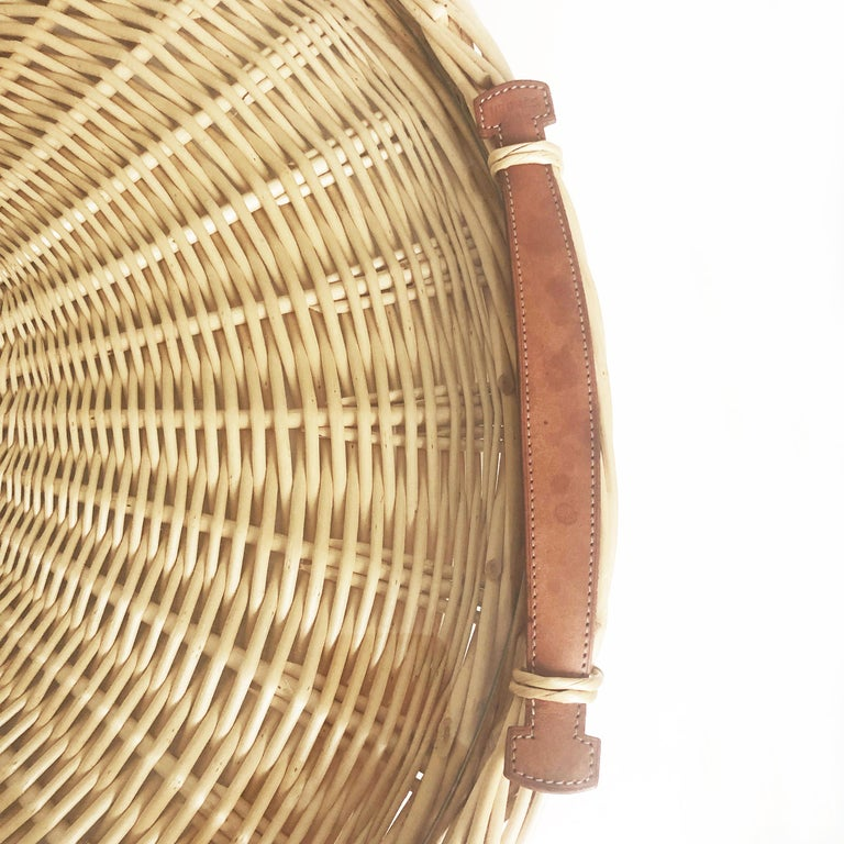 Hermes Oseraie Large Tray Round Serving Platter Wicker And