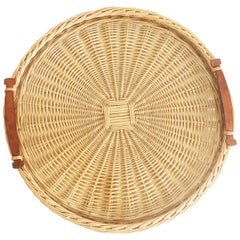 Hermes Oseraie Large Tray Round Serving Platter Wicker & Bridle Leather in Box