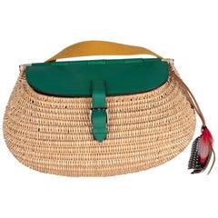 Hermes  Wicker Fishing Bag Vert Green seen in Bloomberg Article Secretive Hermes