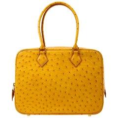 Hermes Ostrich Leather Exotic Skin Gold Evening Top Handle Satchel Bag