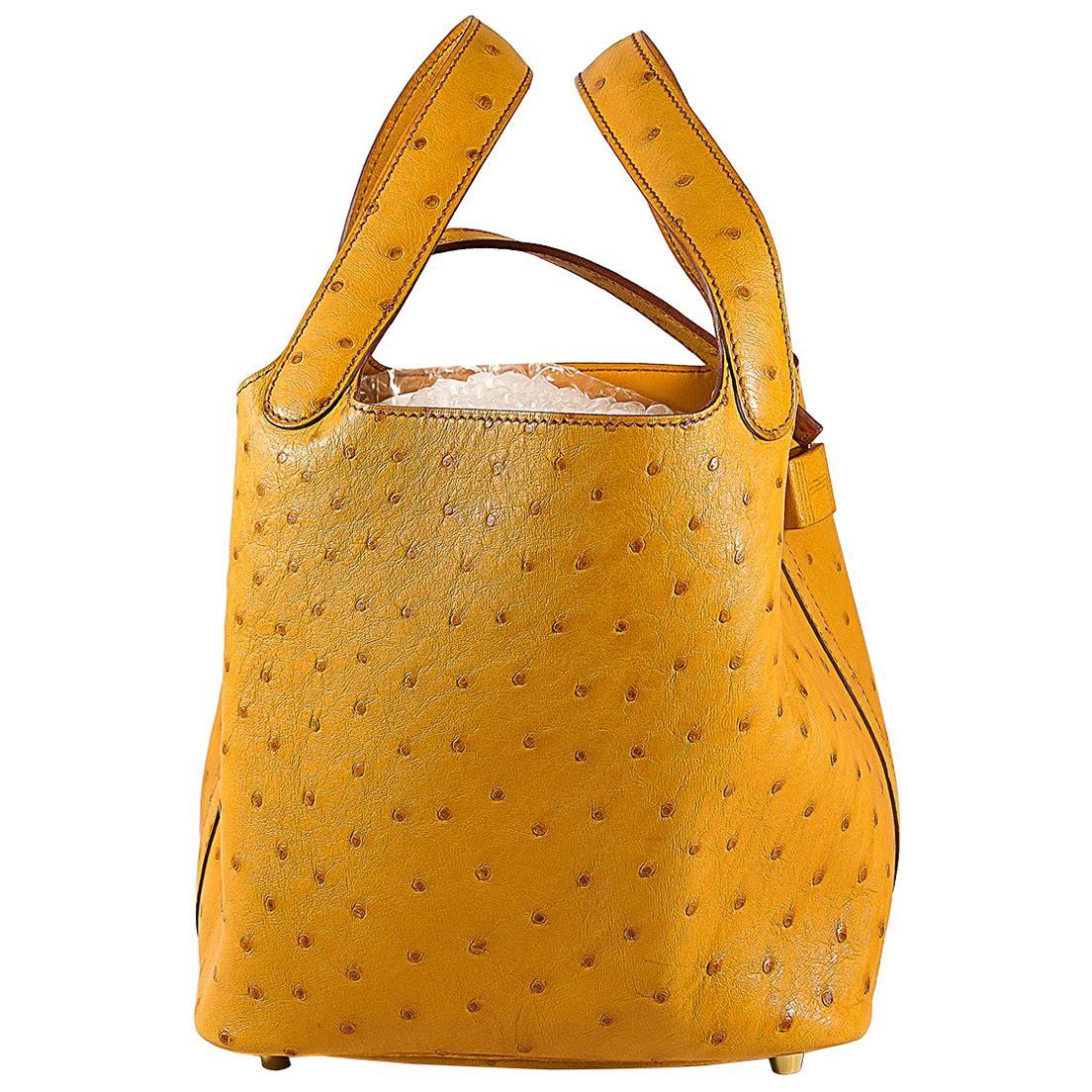 HERMES Ostrich Picotin 22 Bag Saffron