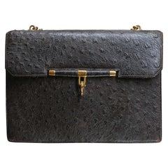 Hermes Ostritch Flap Handle Bag