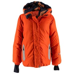Hermes Oversize Hooded Orange Puffer Coat with Scarf Print Lining - Size US 8