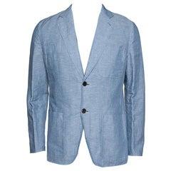 Hermes Pale Blue Striped Linen Cotton Two Buttoned Jacket L