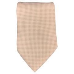 HERMES Pale Pink Micro Gingham Silk Tie