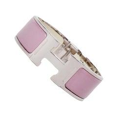 Hermes Palladium Bois de Rose Mauve Wide Enamel H Clic Clac Bracelet sz PM