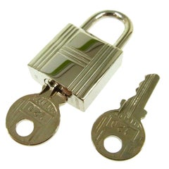 Hermes Palladium Silver Tone Metal Miscellaneous Travel PadLock and Two Keys