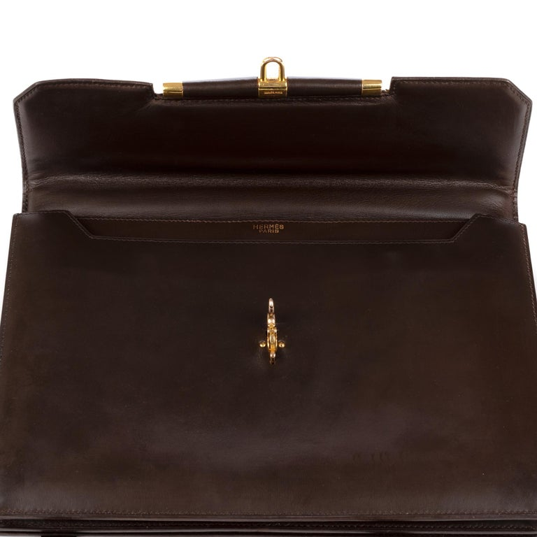 Black Hermes Palonnier Brown Box Leather Crossbody Bag For Sale