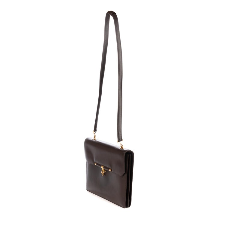 Hermes Palonnier Brown Box Leather Crossbody Bag For Sale 1