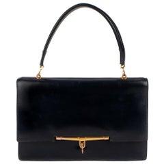 Hermes Palonnier Navy Blue box Leather Handbag