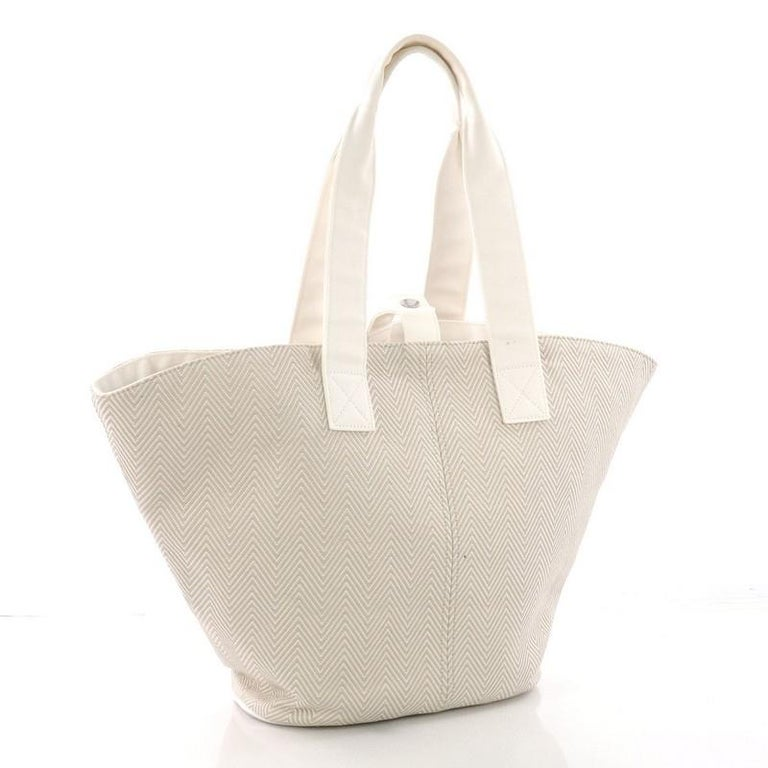 Beige Hermes Panier De Plage Handbag Canvas PM For Sale