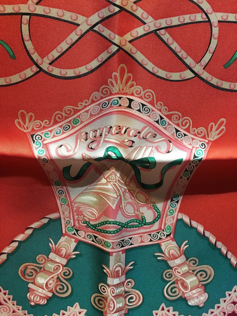 Hermes Paperoles Silk Scarf in Magenta & Coral  In Excellent Condition For Sale In Philadelphia, PA