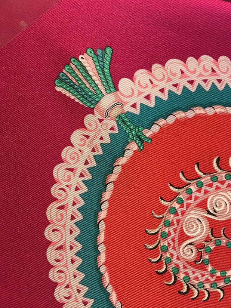 Hermes Paperoles Silk Scarf in Magenta & Coral  For Sale 1