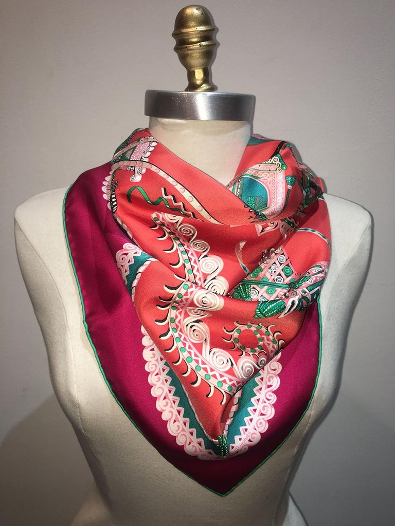 Hermes Paperoles Silk Scarf in Magenta & Coral  For Sale 3