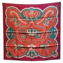 Hermes Paperoles Silk Scarf in Magenta & Coral