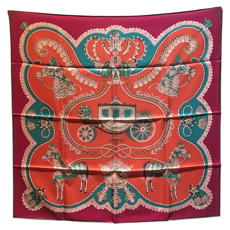 Hermes Paperoles Silk Scarf in Magenta & Coral  For Sale