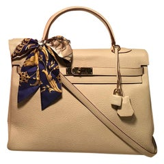 Hermes Parchemin Taurillon Clemence Leather Kelly 35 GHW