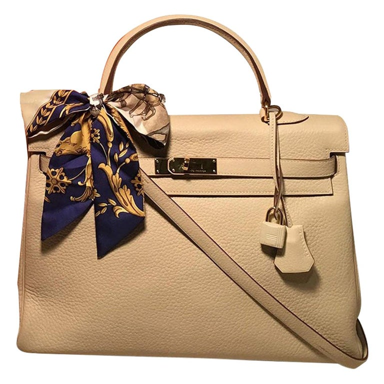 Hermes Parchemin Taurillon Clemence Leather Kelly 35 GHW For Sale