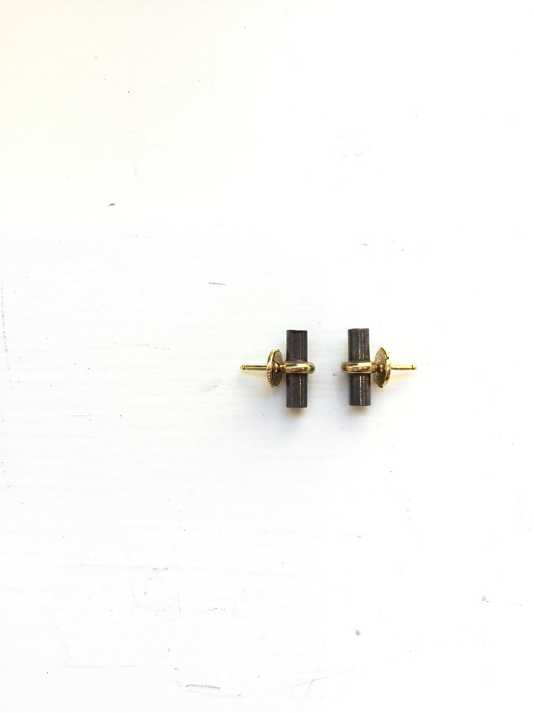 Hermes Paris 18k Gold with Sterling Silver Bar Stud Earrings In Excellent Condition For Sale In Carmel by the Sea, CA