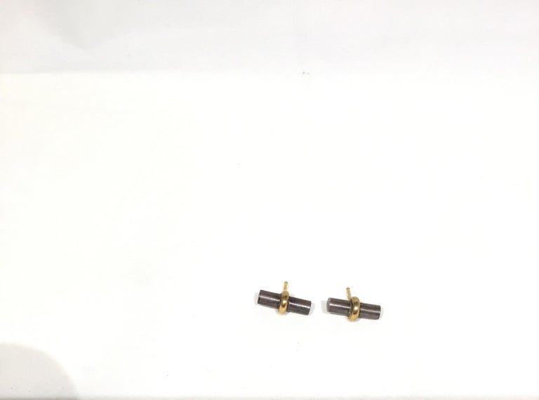 Hermes Paris 18k Gold with Sterling Silver Bar Stud Earrings For Sale 3