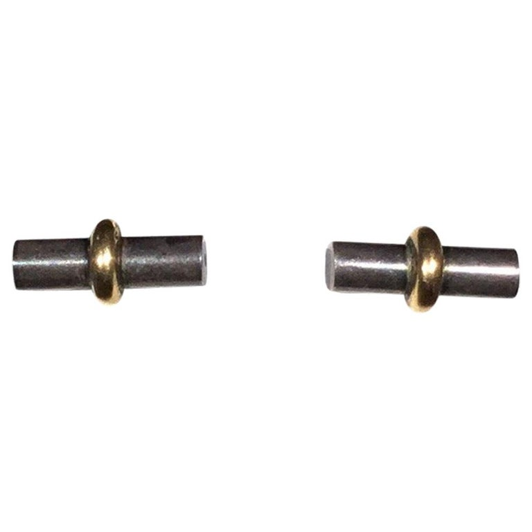 Hermes Paris 18k Gold with Sterling Silver Bar Stud Earrings For Sale