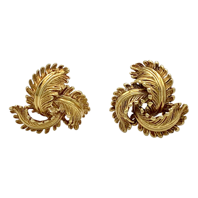Hermès  Paris !8 Karat Yellow White Gold Vintage Clip on Earrings