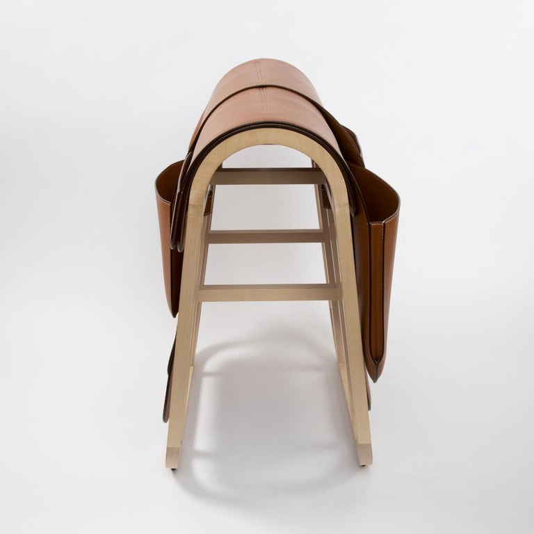 Leather Hermès Paris, a Magazine Rack from the