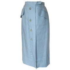 Hermes Paris Baby Blue Long Linen Skirt
