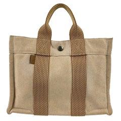 Hermes Paris Beige and Orange Cotton Fourre Tout PM Tote Bag