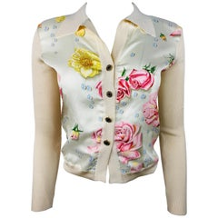 Hermes- Paris Beige Silk and Knit Button Down Top Size 38