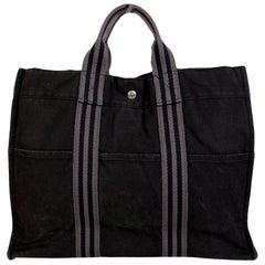 Hermes Paris Black and Gray Cotton Fourre Tout MM Tote Bag