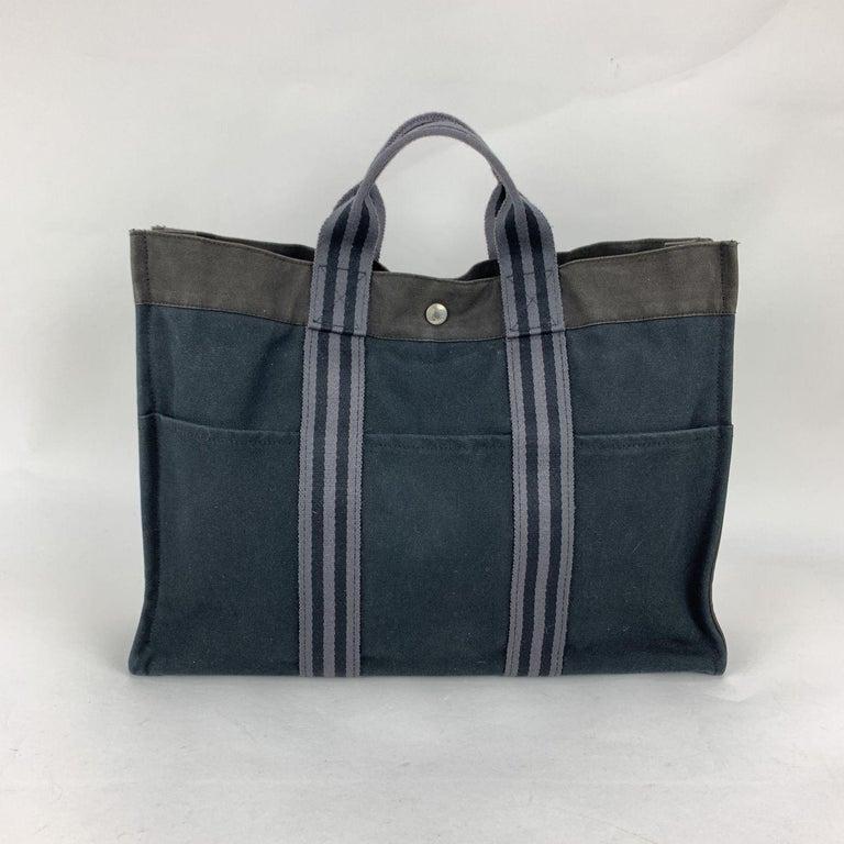 Hermes Paris Black and Gray Stripes Cotton Fourre Tout MM Tote Bag For Sale 1