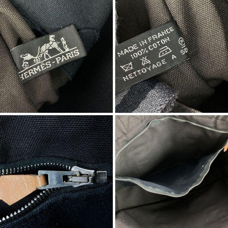 Hermes Paris Black and Gray Stripes Cotton Fourre Tout MM Tote Bag For Sale 2