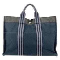 Hermes Paris Black and Gray Stripes Cotton Fourre Tout MM Tote Bag