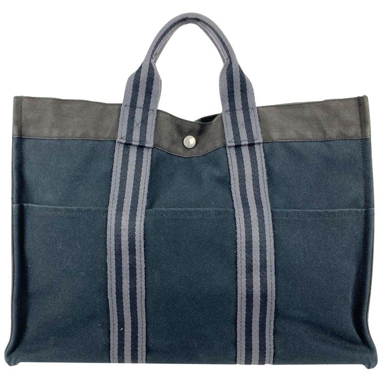 Hermes Paris Black and Gray Stripes Cotton Fourre Tout MM Tote Bag For Sale