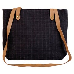 Hermes Paris Black Canvas Long Straps Ahmedabad Tote Bag