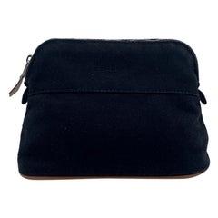 Hermes Paris Black Canvas Mini Bolide Cosmetic Bag Pouch