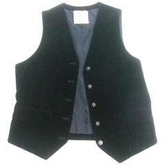 Hermes Paris Black Cotton Velvet Women's Vest with Hermes Buttons c 1970s